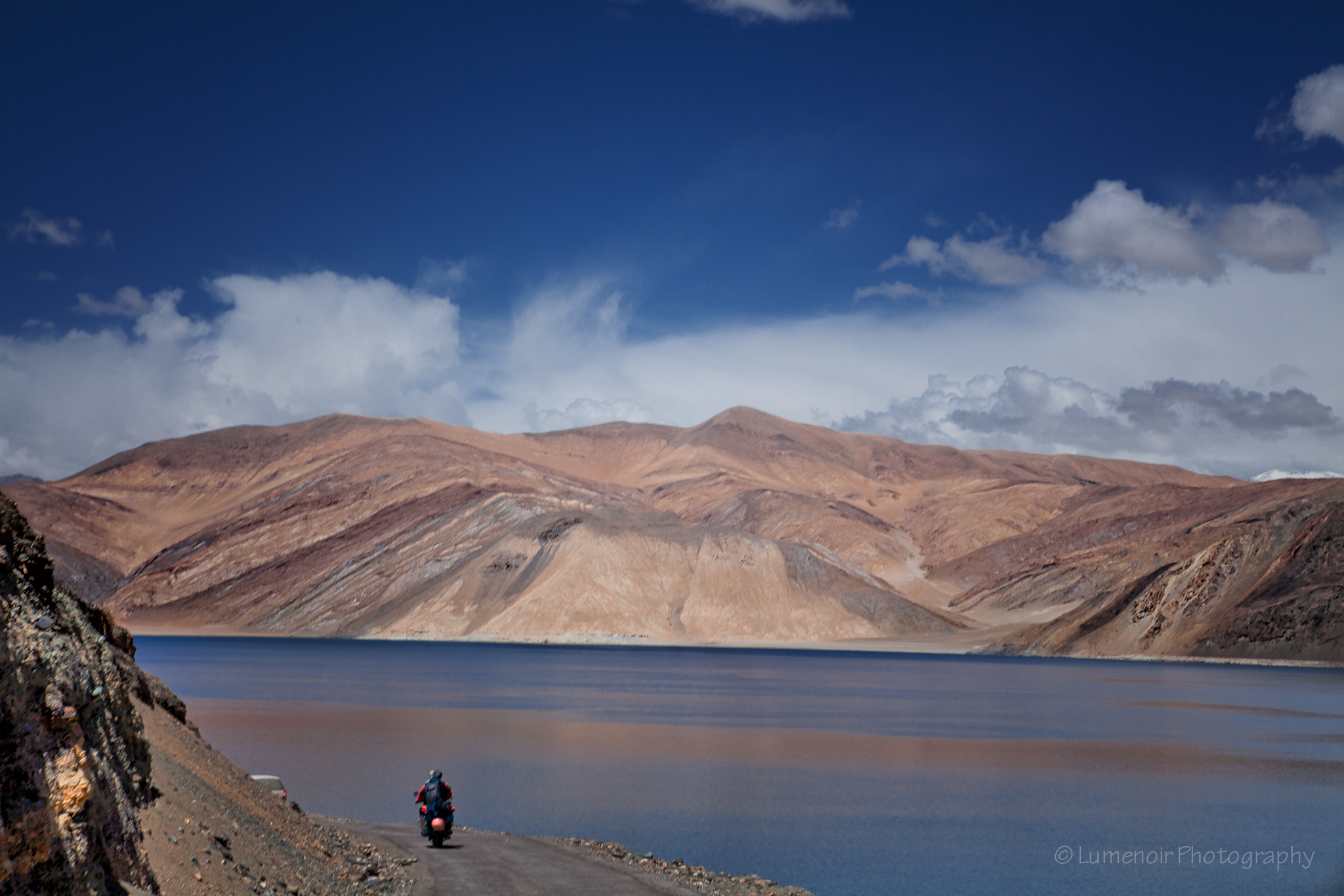 Royal Einfield to Pangong Lake.
