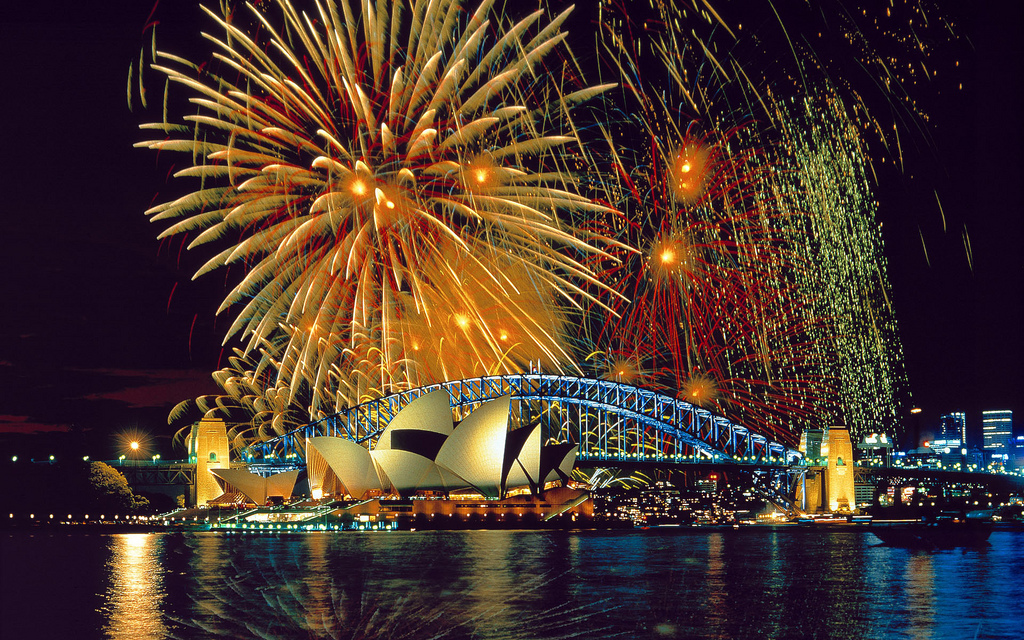 Australia, New South Wales, Sydney, Fireworks over the Opera House,Harbor Bridge